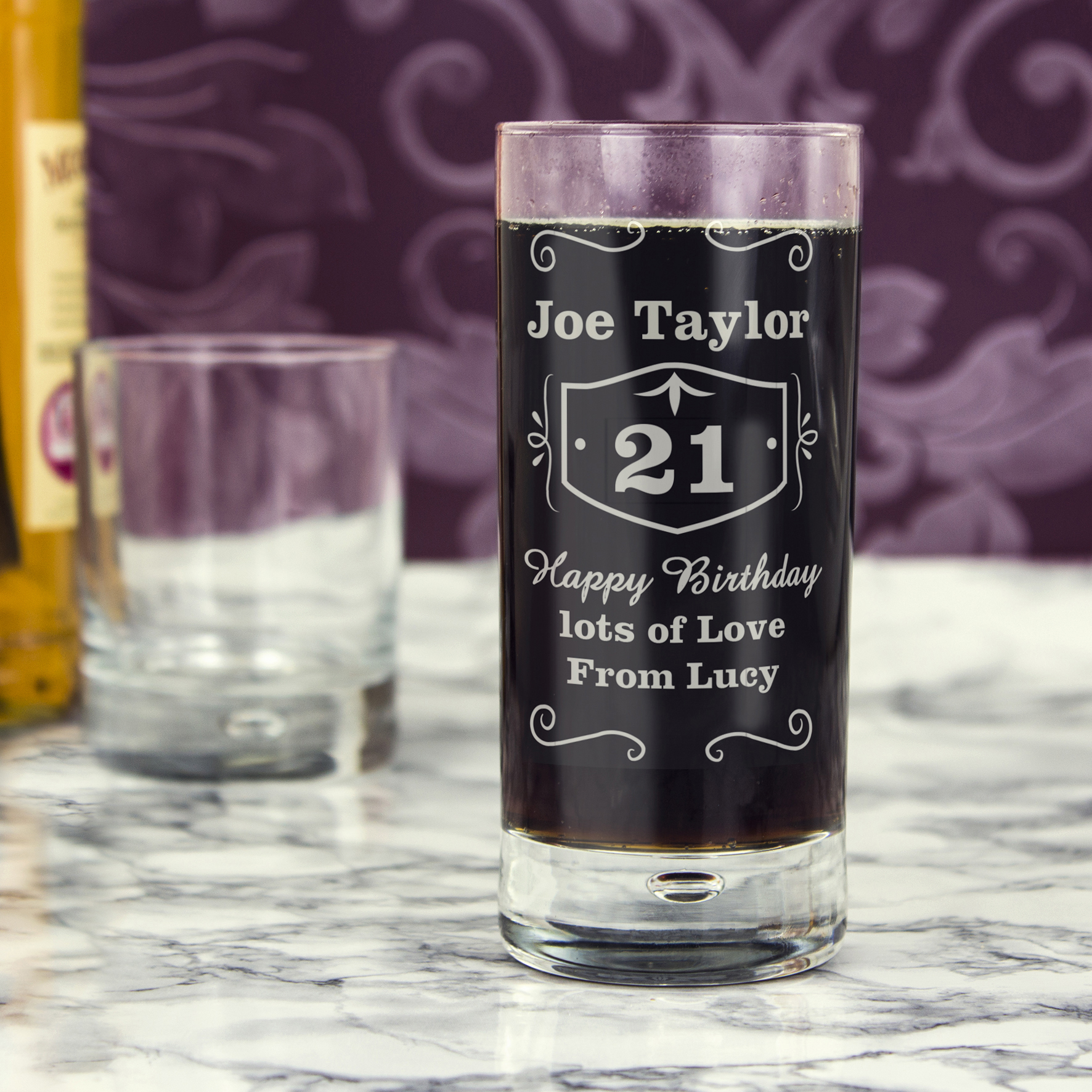 Engraved Bubble Hi Ball Glass - Classic Whisky Style