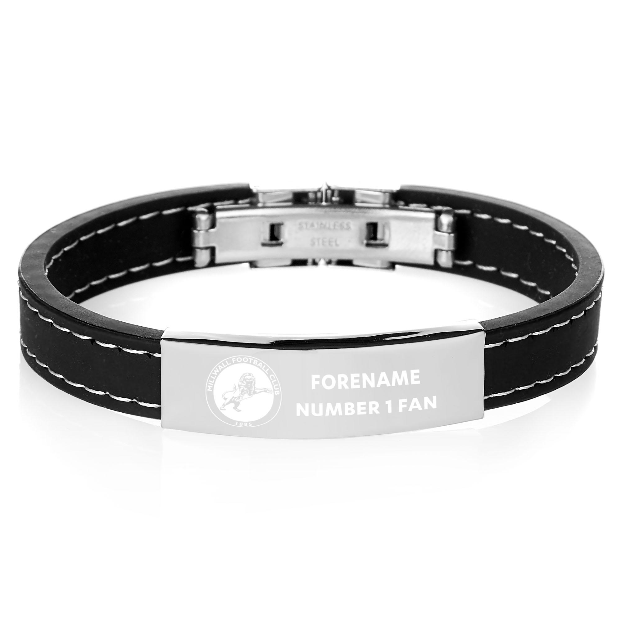 Millwall FC Steel & Rubber Bracelet
