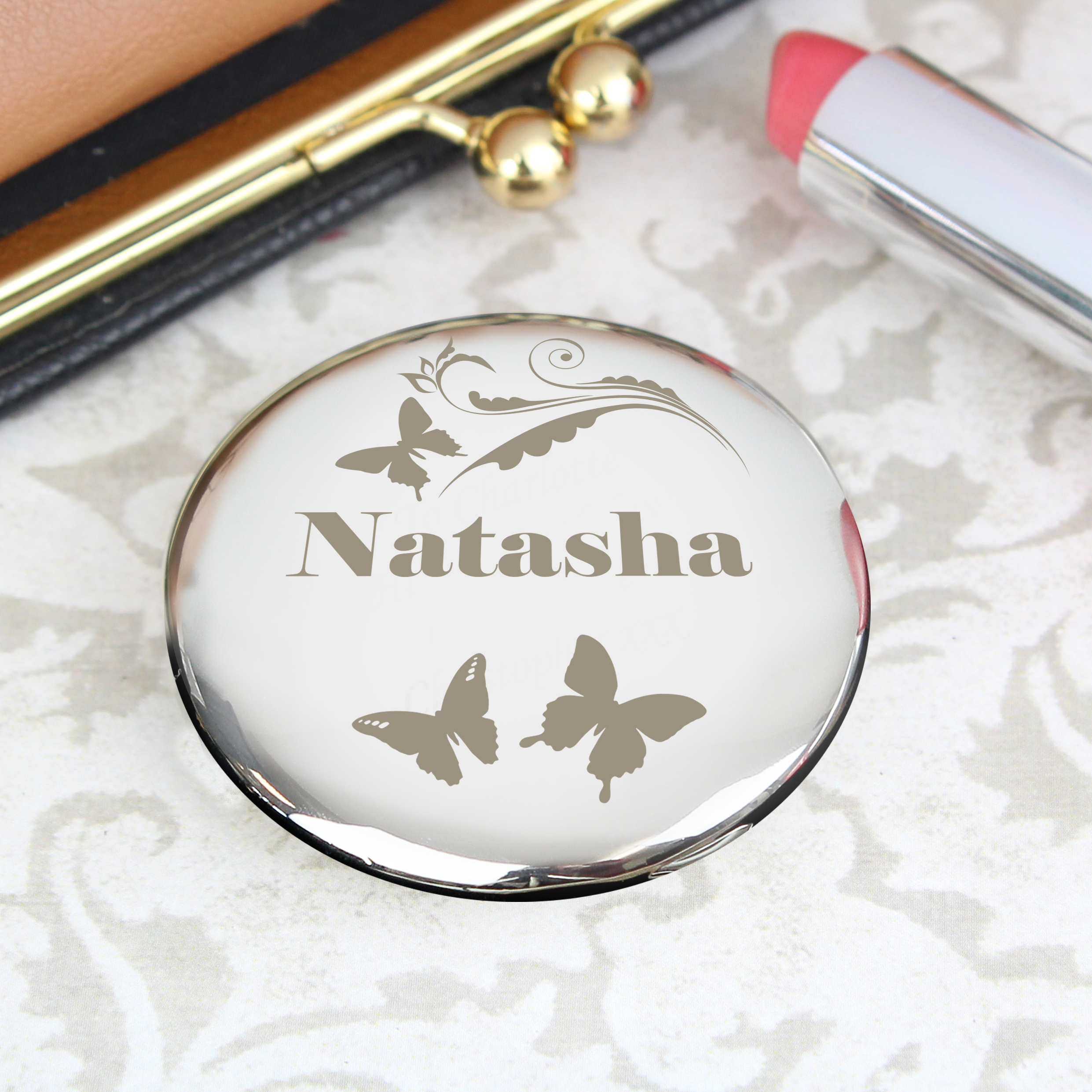 Engraved Butterfly Swirl Compact Mirror