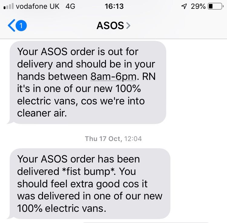 ASOS' text messages