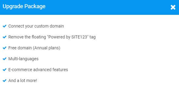 site123 premium package features