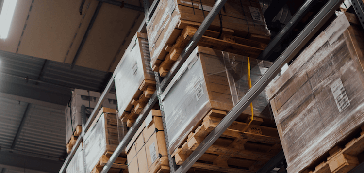 Pallets and storage space in a fulfilment centre