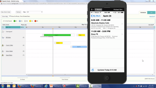 Work order scheduling with Intuit