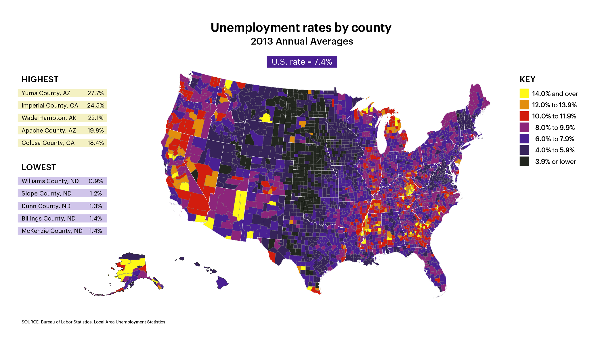 Unemployment Rates By County Map