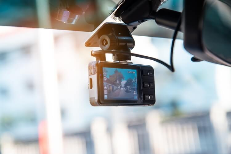 A dash cam in action