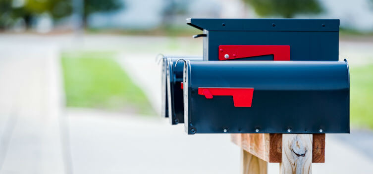 Empty mailboxes in an American suburb
