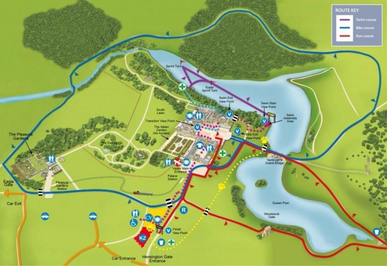 Blenheim Map 2018 Both Swim Sprint Turns 848X583