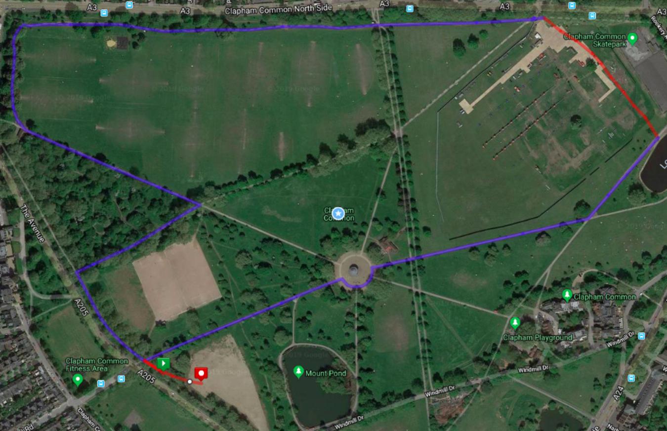 Clapham Common Race Route 2019 Onwards V2