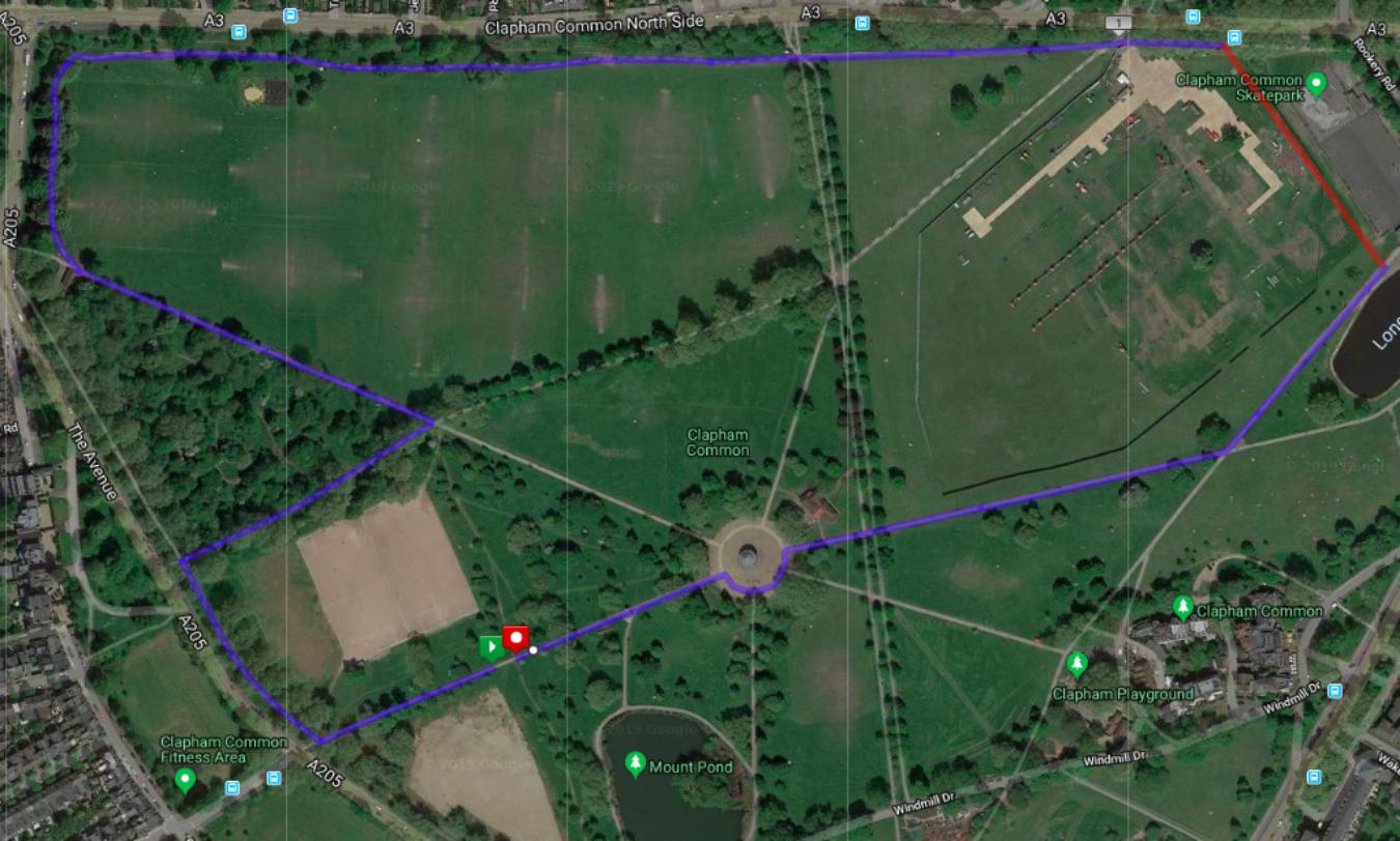 Clapham Common Race Route 2019 Onwards