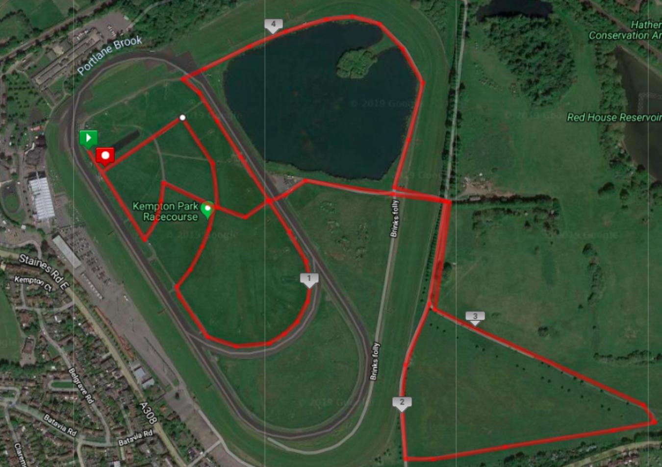 Kempton Park Racecourse Race Route V1