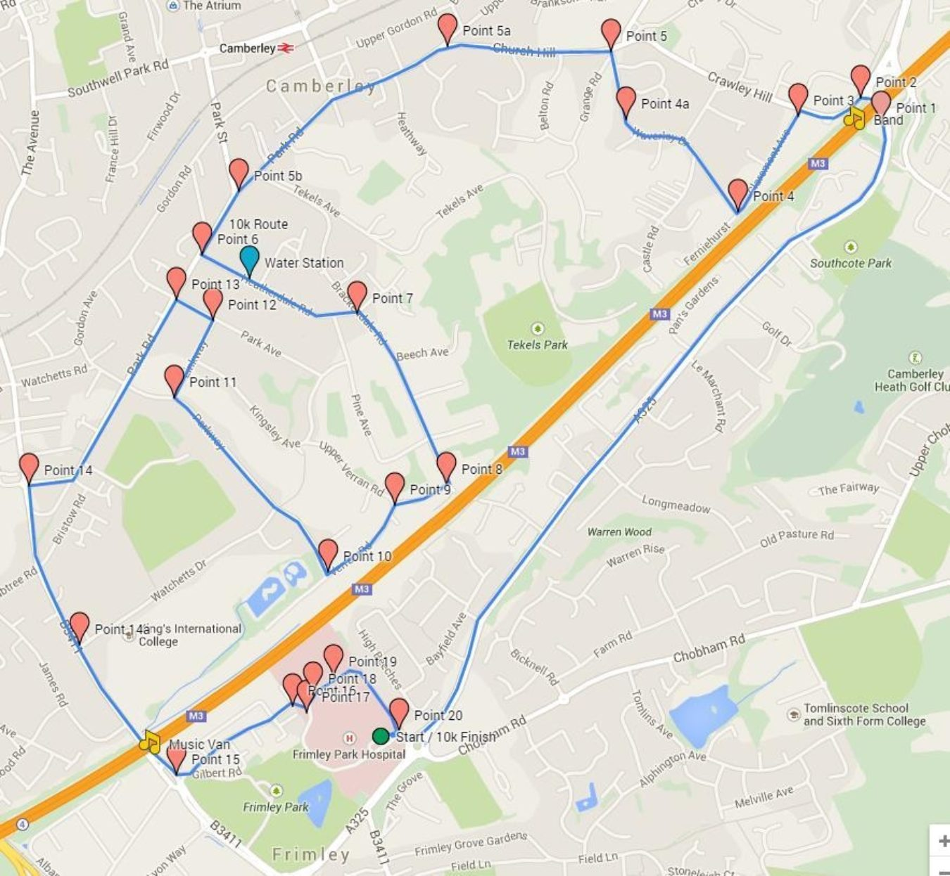 Frimley 10 K Route