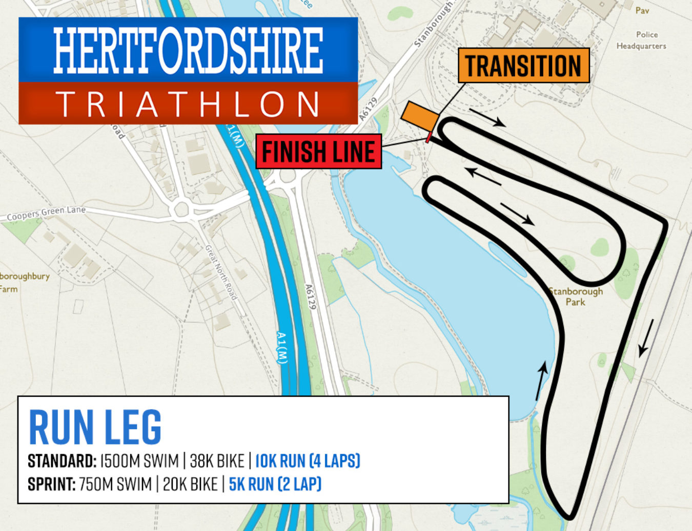 Herts Tri Run Route