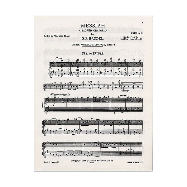 Handel: Messiah, A Sacred Oratorio for Oboe 1 & 2 (Set B) - Handel, George Frideric (Artist)