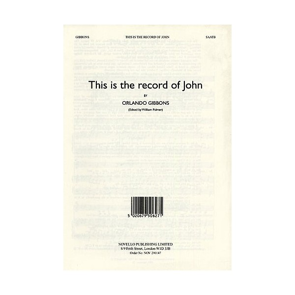 Orlando Gibbons: This Is The Record Of John (Alto Verse) - Gibbons, Orlando (Artist)