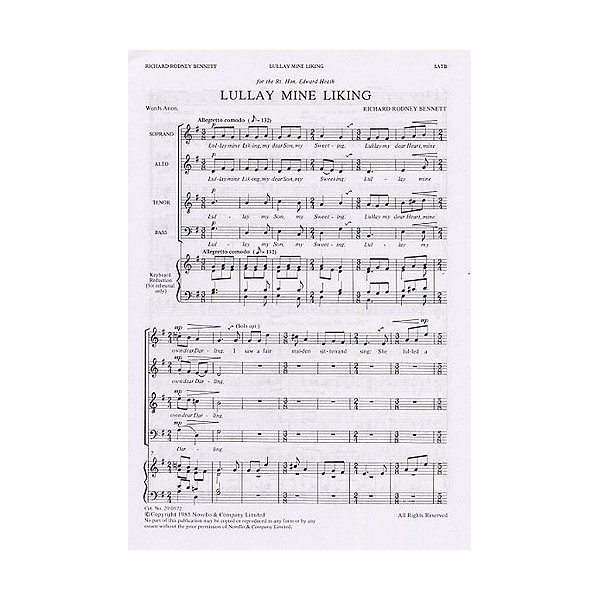 Richard Rodney Bennett: Lullay Mine Liking (SATB) - Bennett, Richard Rodney (Composer)