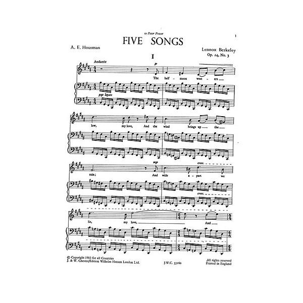 Berkeley, Lennox - Five Housman Songs Op14