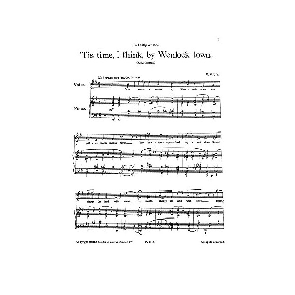 """Orr, C W - Two Songs from """"A Shropshire Lad"""""""