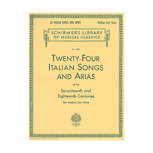 Twenty-Four Italian Songs And Arias Of The 17th And 18th Centuries - Medium Low Voice - 0