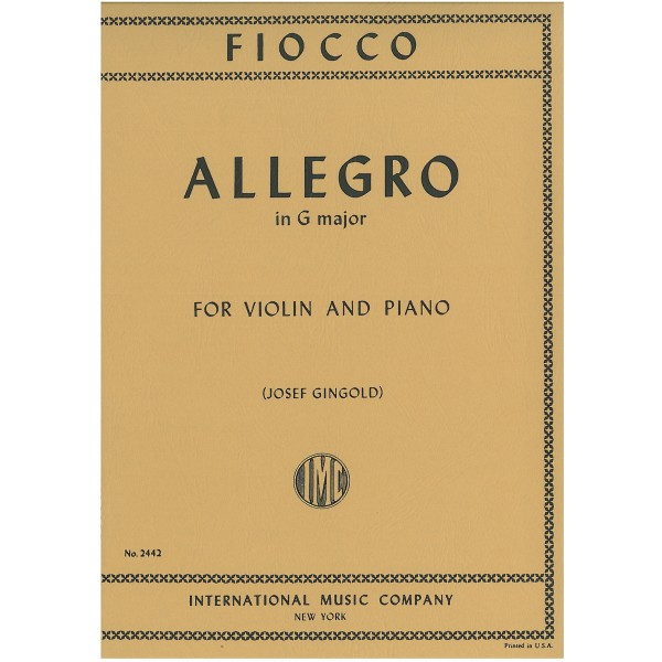 Fiocco, Gioseffo Hectore - Allegro in G major