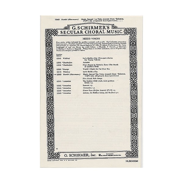 G.F. Handel: Music, Spread Thy Voice Around (Solomon) - Handel, George Frideric (Artist)