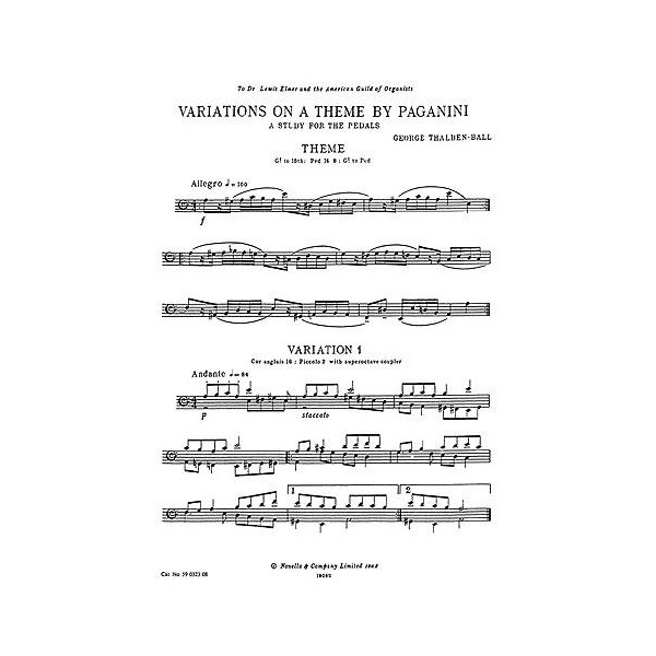George Thalben-Ball: Variations On A Theme By Paganini For Organ Pedals - Thalben-Ball, George (Artist)