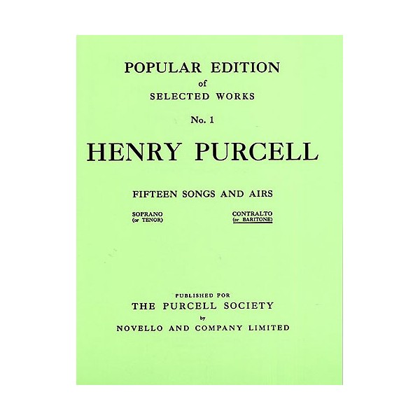 Henry Purcell: Fifteen Songs And Airs Set 1 (Contralto Or Baritone) - Purcell, Henry (Composer)