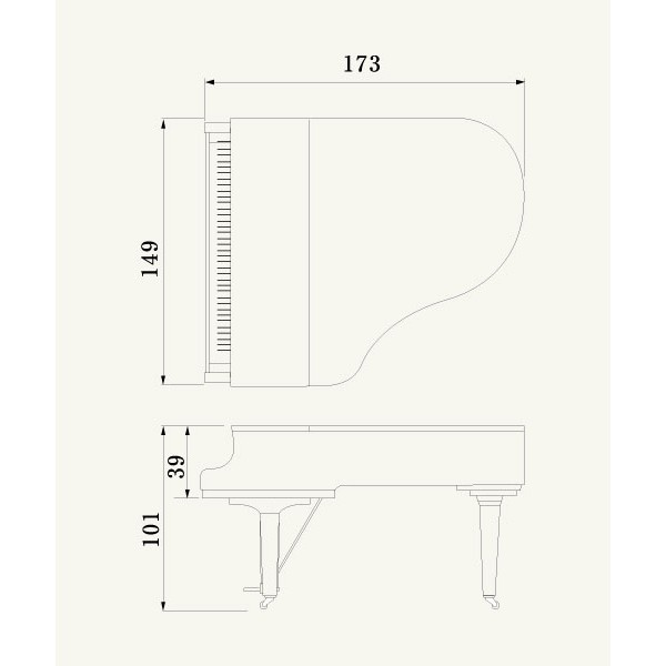 Yamaha c2x chrome grand piano for Dimensions of a piano