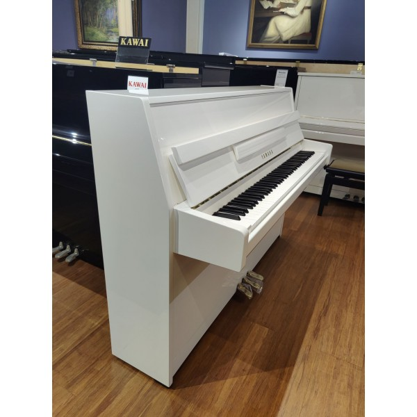 Yamaha B1 Upright Piano in White Polyester bass side