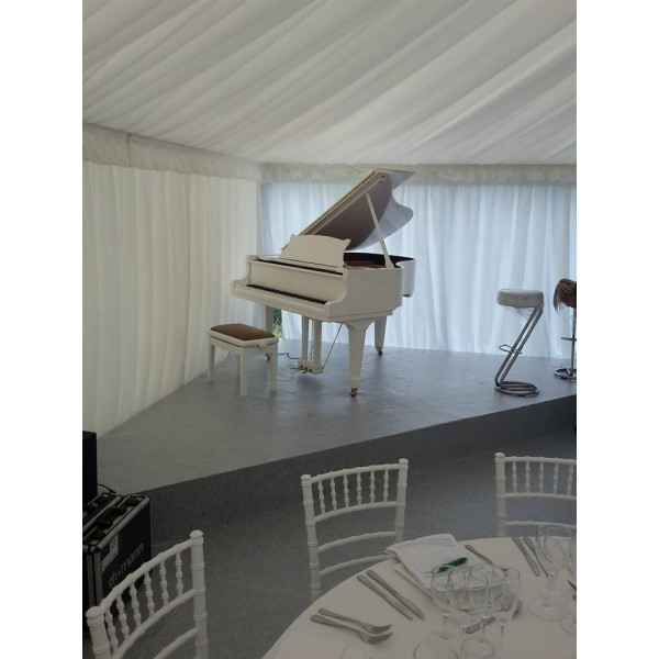 White Baby Grand -May163 on hire to wedding