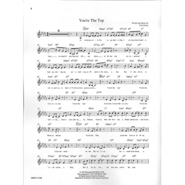 Sing the Songs of Cole Porter, Vol. 2 - Music Minus One - Backing Track CD + Sheet Music