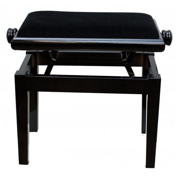 125ET Standard Single Adjustable Piano Stool Black Polish with black velvet top
