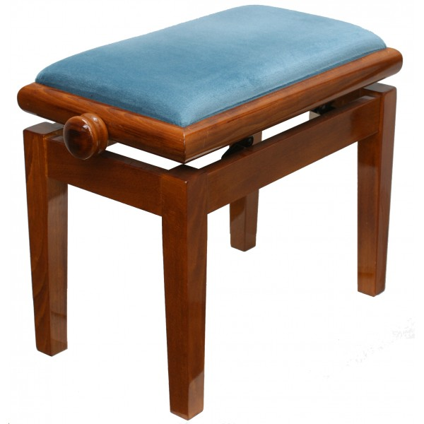 125ET adjustable piano stool in light walnut (with light blue top)