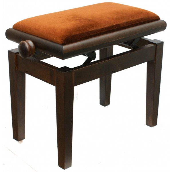 125ET Single Adjustable Piano Stool medium walnut satin (brown top)