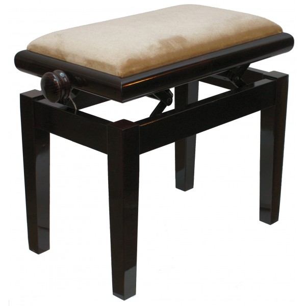 125ET Single Adjustable Piano Stool Dark Mahogany polish - Beige top