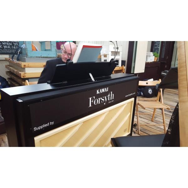 Kawai CA97 satin black hire piano in action