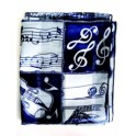 Blue and white musical scarf