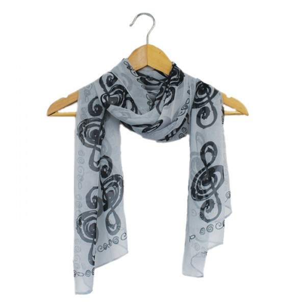 Black and white treble clef scarf