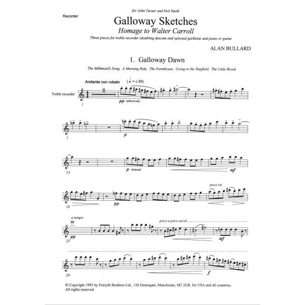 Galloway Sketches - Bullard, Alan - Sheet Music for Treble Recorder and Piano or Guitar