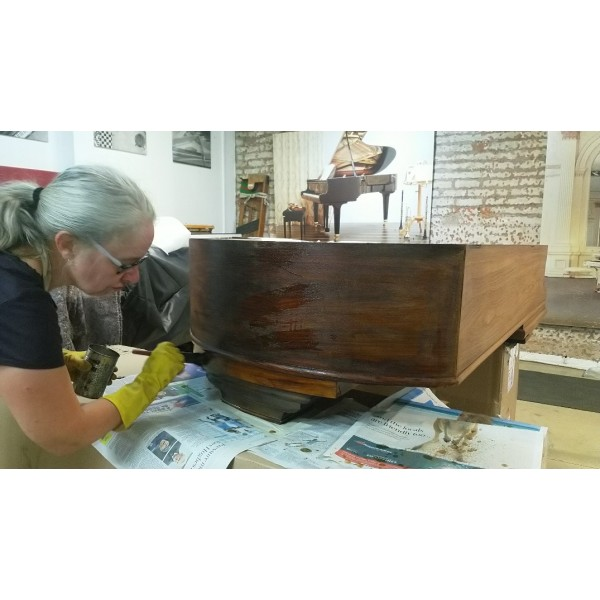 Bechstein Model A in Rosewood being French Polished at Forsyths