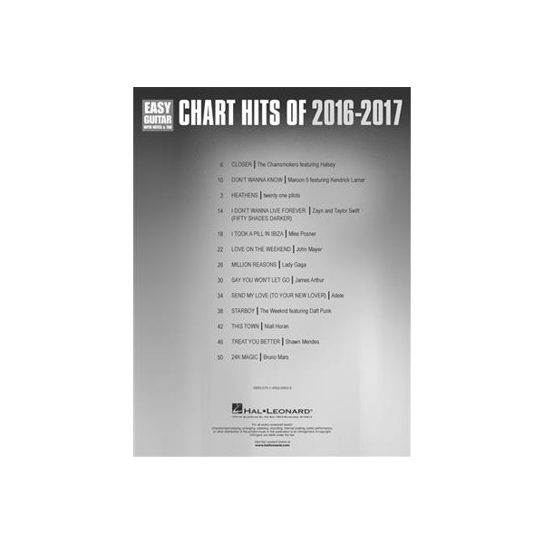 Chart Hits of 2016-2017 - Easy Guitar