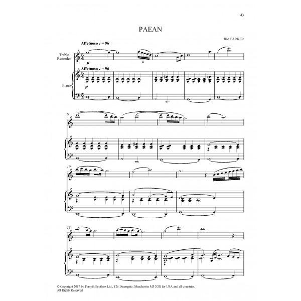 Recital Pieces Vol. 4 for Treble Recorder & Piano, Ed. John Turner