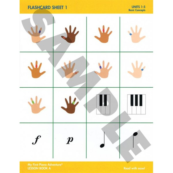 My First Piano Adventure - Flashcard Sheets