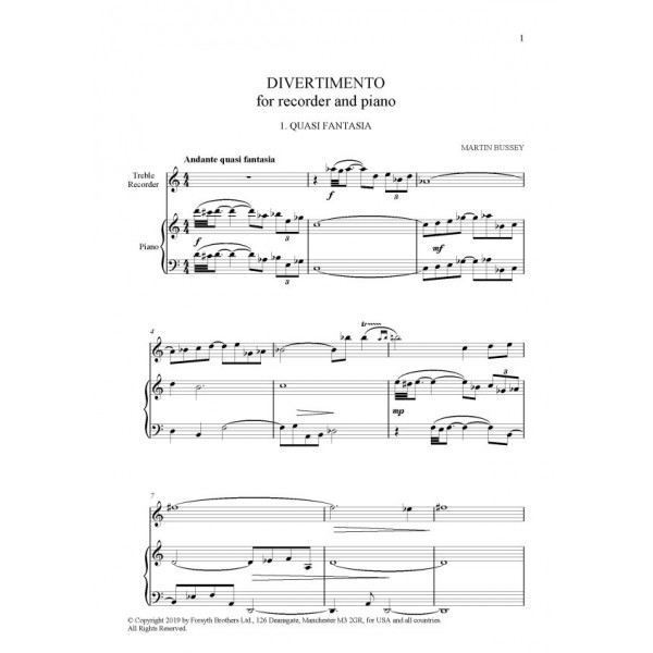 Divertimento - Martin Bussey - Recorder and Piano