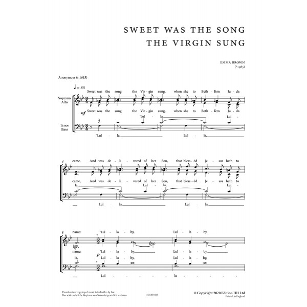 Brown, Emma - Sweet was the Song the Virgin Sung (SATB)