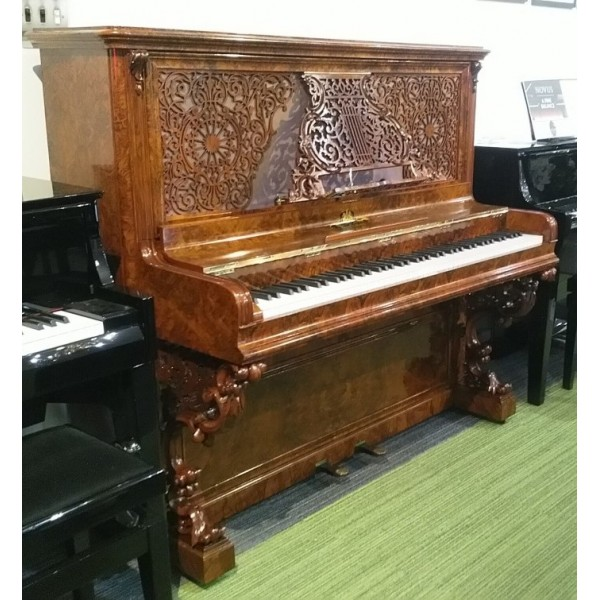Antique Kirkman upright piano in burl walnut with new Wilhelm Schimmel inside