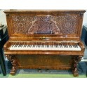 SOLD - Antique Kirkman upright piano in burl walnut with new Wilhelm Schimmel inside