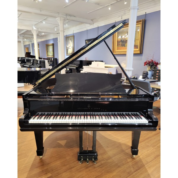 Fully rebuilt Steinway Model O Grand Piano in Black Polyester - front