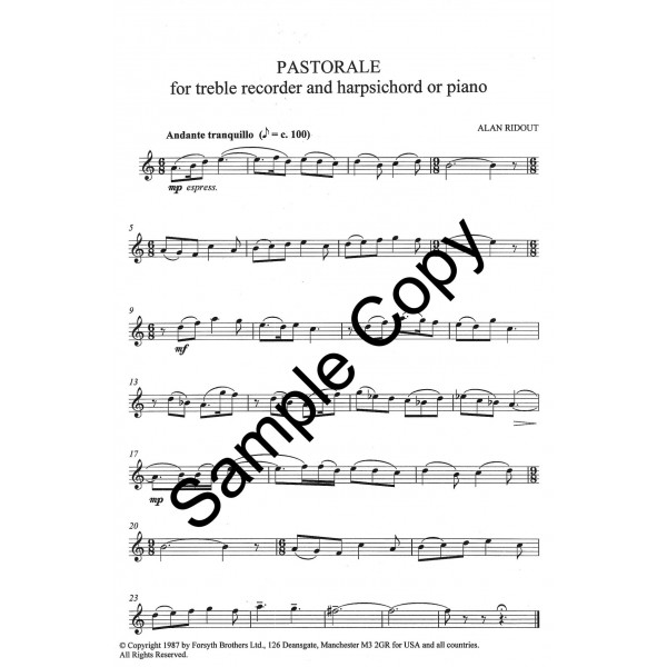 Pastorale for Treble Recorder and Piano - Ridout, Alan