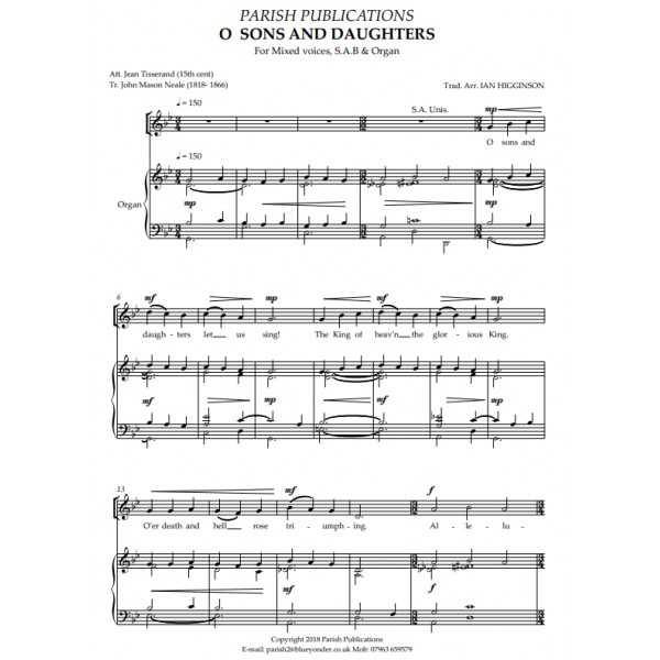 Higginson, Ian - O Sons And Daughters (SAB & Keyboard)
