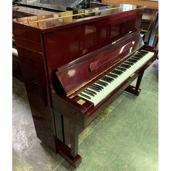 Samick upright piano in mahogany polyester pre-owned